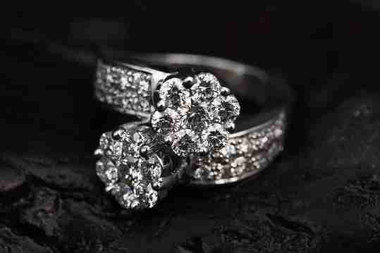 Close up of two diamond rings