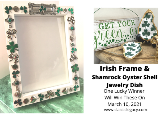 Irish Give Away White Frame and Celtic Earrings