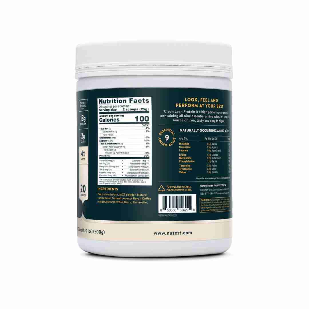 Coffee Coconut Ingredient Label