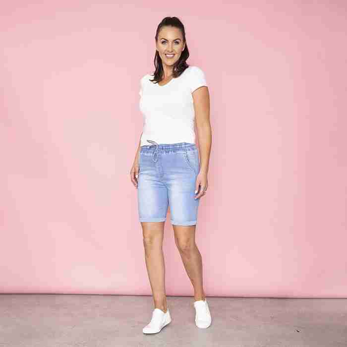 Phoebe Elastic Waist Shorts(Light Blue)