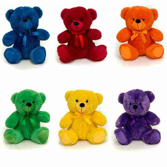 Six Colorama Bears in both primary and secondary colors.