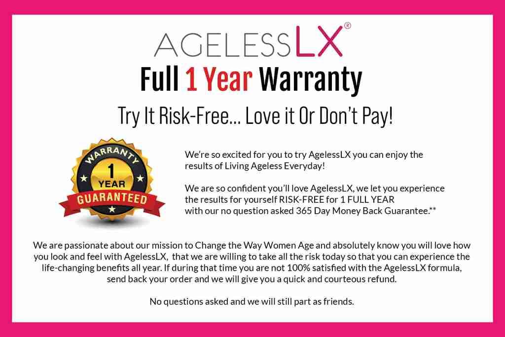 AgelessLX Full 1 Year Warranty