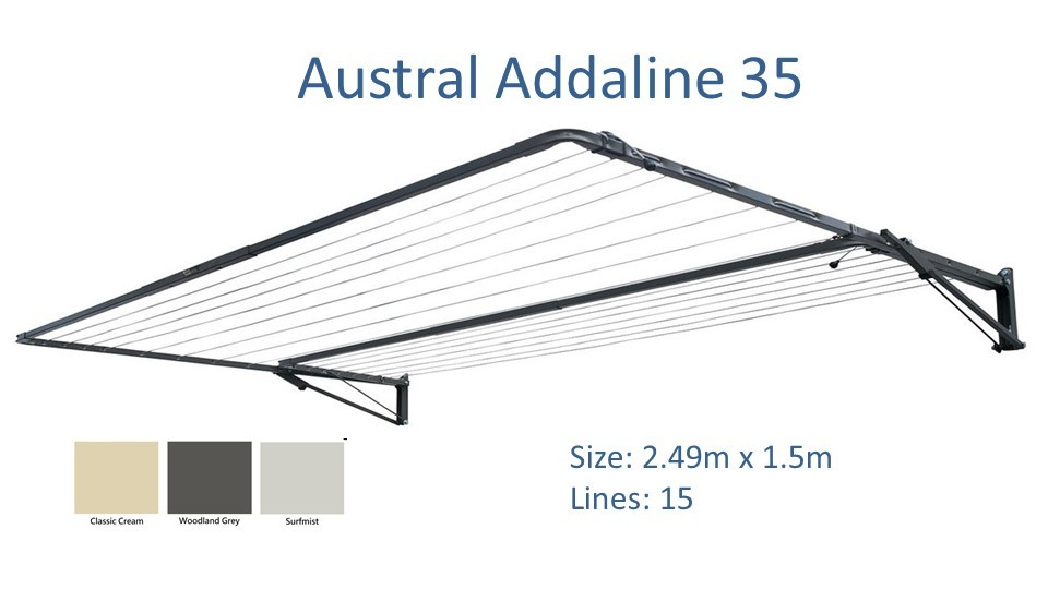 austral addaline 2.4m wide dimensions and colour options
