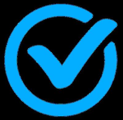 a blue checkmark
