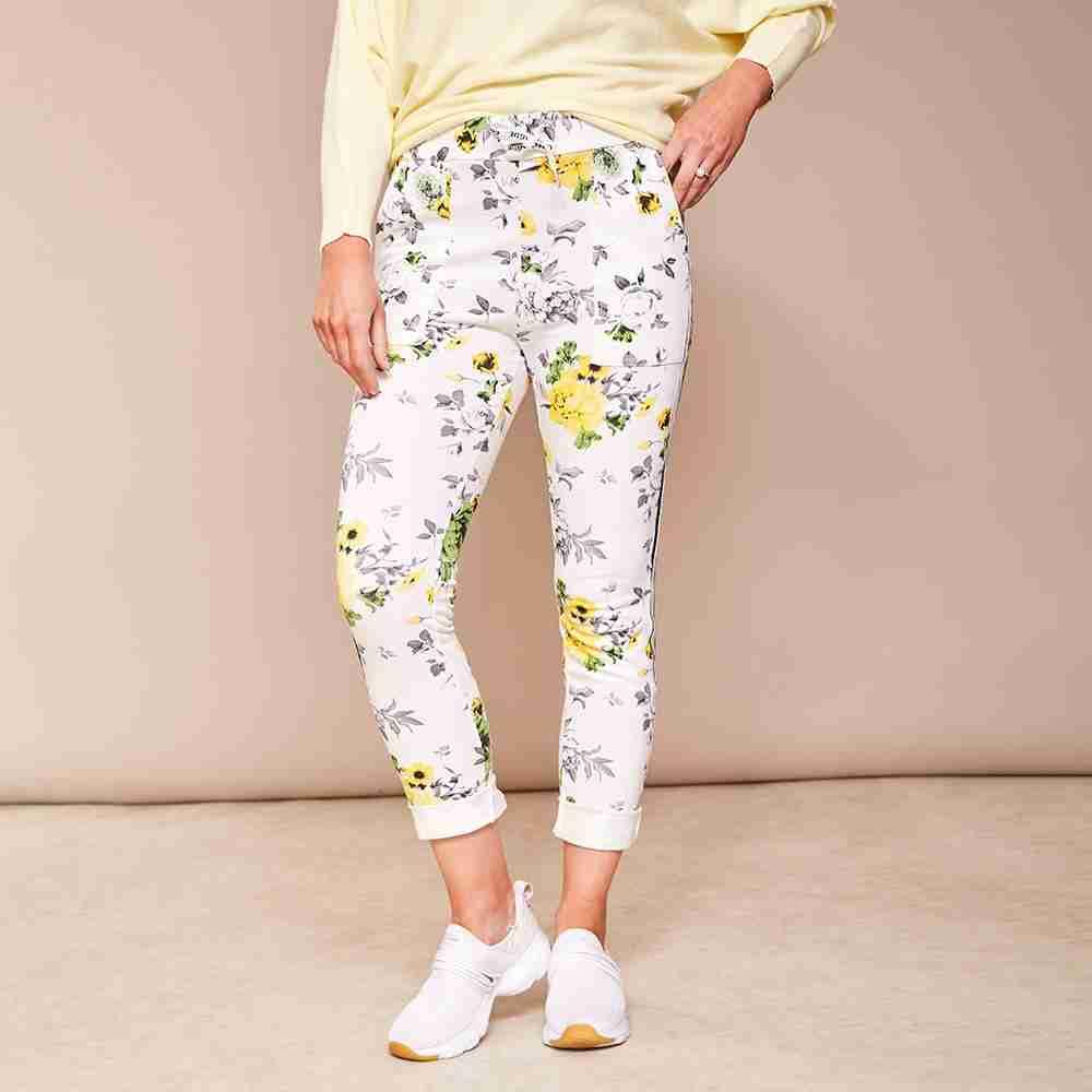 Kelly Floral Joggers(Lemon)