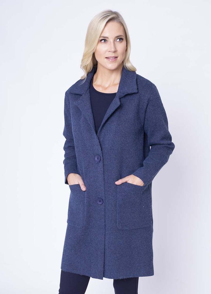 Revere Collar Coat Cardiin Blue