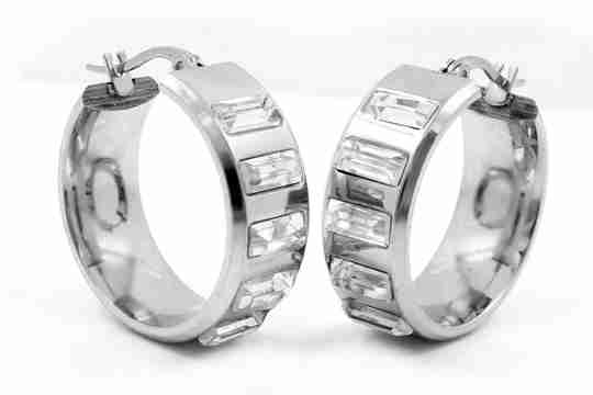 Two stainless steel earrings