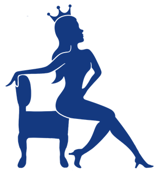 The Queen of the Thrones Logo, a woman on her throne wearing a crown