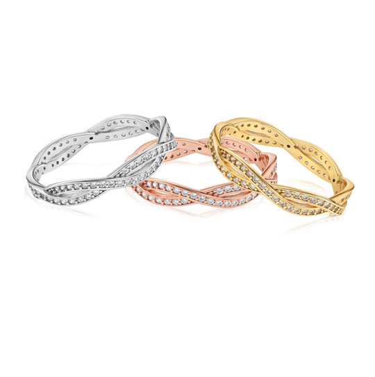 Silver, rose gold, and gold rings with 84 cubic zirconia gems