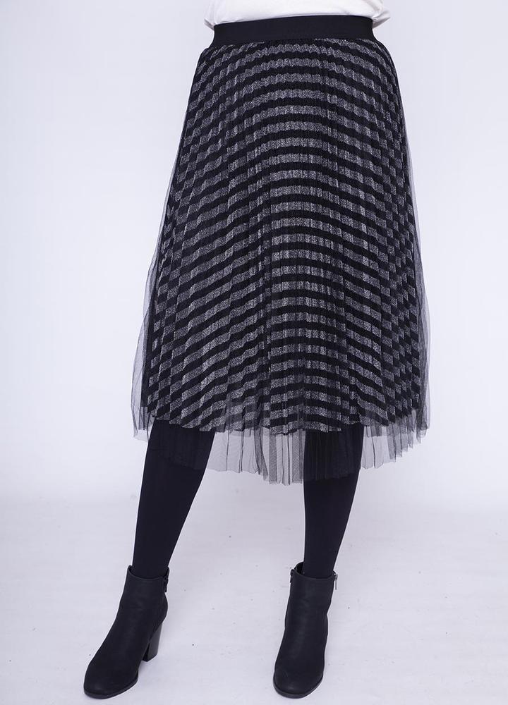 Overlay Net Skirt in Silver