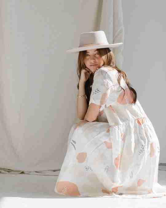 Caroline Print Nico Dress and Gigi Pip hat
