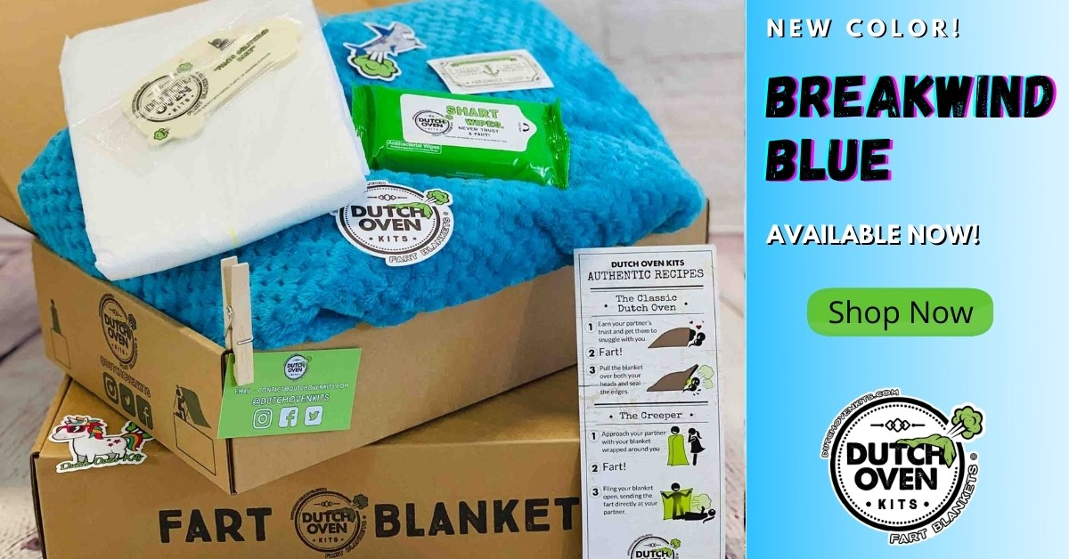 new color breakwind blue available now! Picture of a bright blue dutch oven kits blanket in a box.