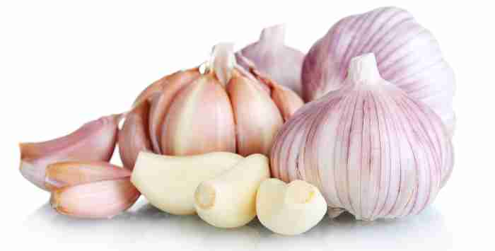 Garlic bulbs and cloves with white background