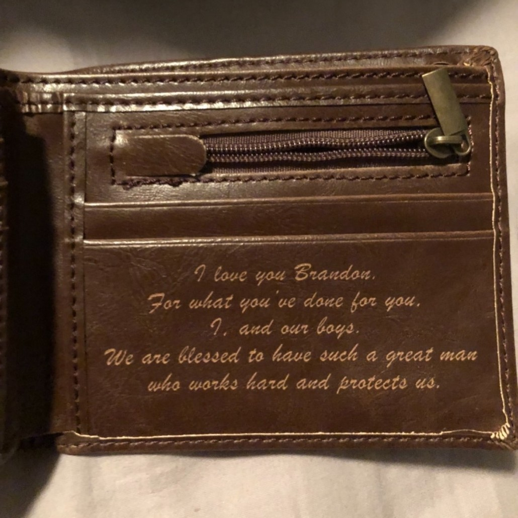 leather wallet with a personal note | leather wallet