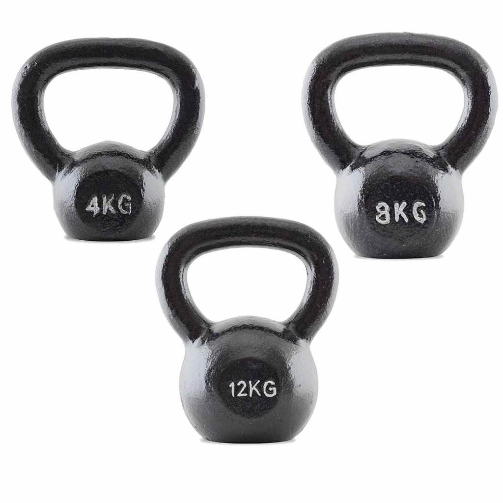 3 SET KETTLEBELLS 4KG - 12KG (STRENGTHMAX)