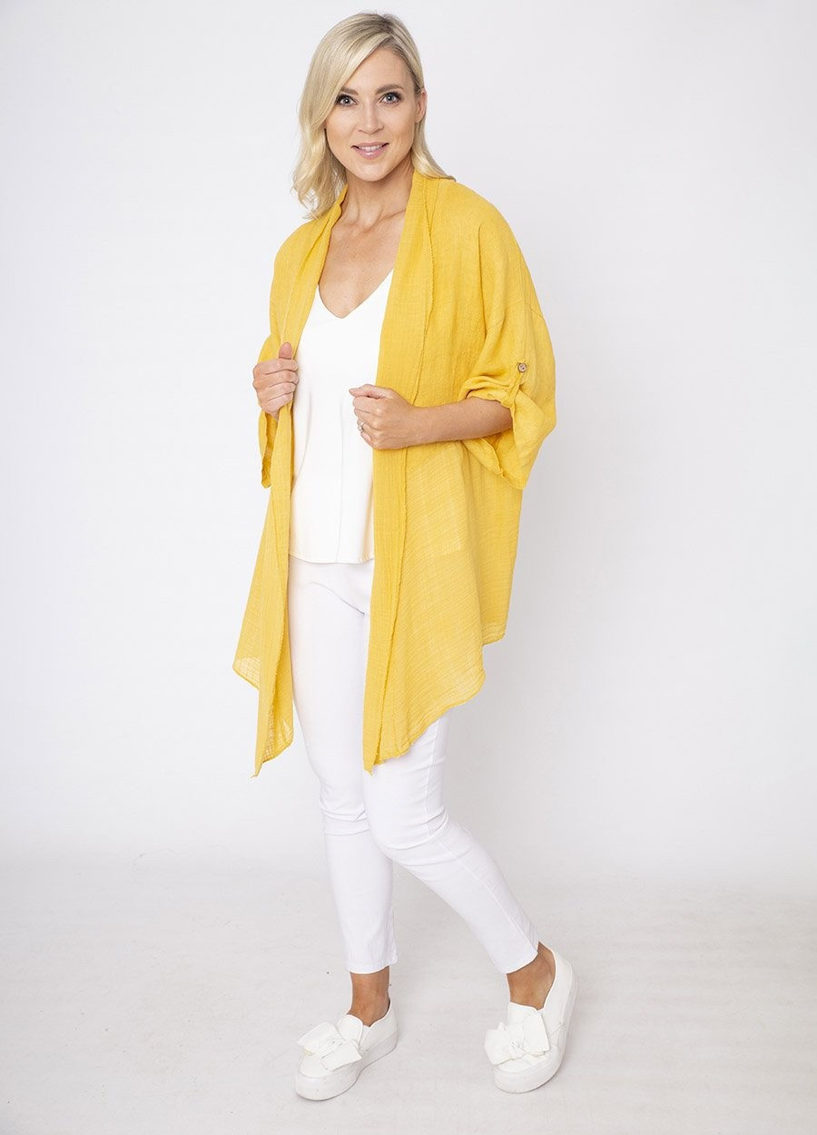 Roll Neck Button Sleeve Linen Cardi
