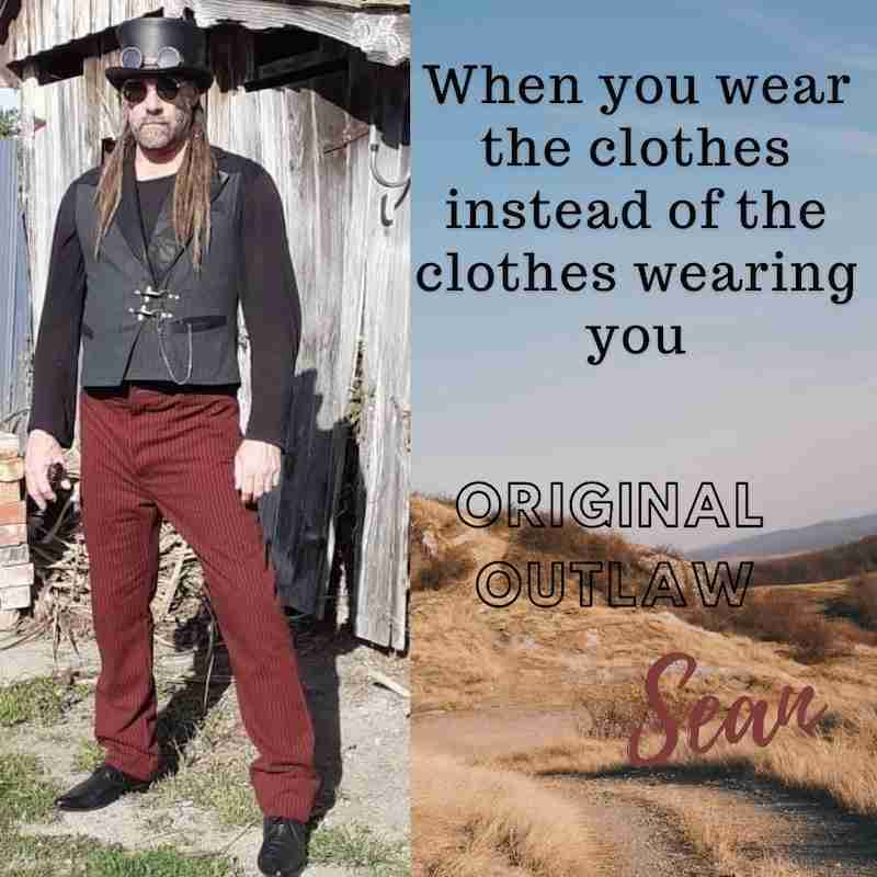 Sean Julian from NZ with his Deadwood Wild Old West steampunk themed Lock & Load vest & Dark Red Original Outlaw trousers for his wedding gear