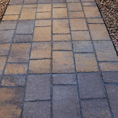 Charcoal with Red and Brown Pavers