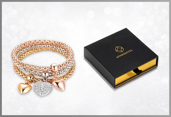 Solid Hearts Charm Bracelet Set