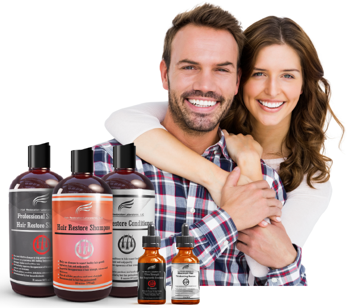 Image of man and woman smiling with Hair Restoration Laboratories products