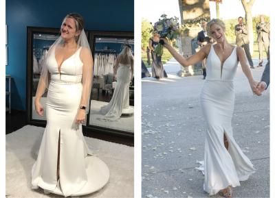 Avant et après des photos de femme en robe de mariée