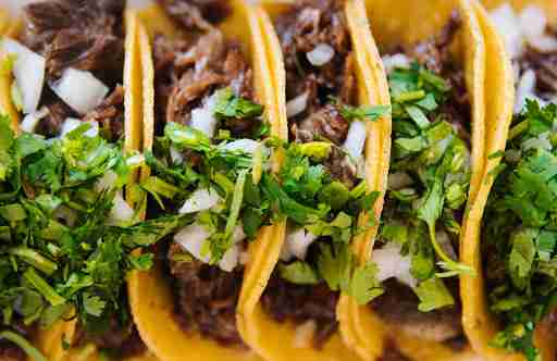 healthy tacos with cilantro and onions