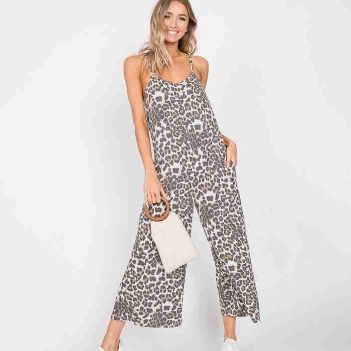Emma Wide Leg Jumpsuit (Leopard Print)