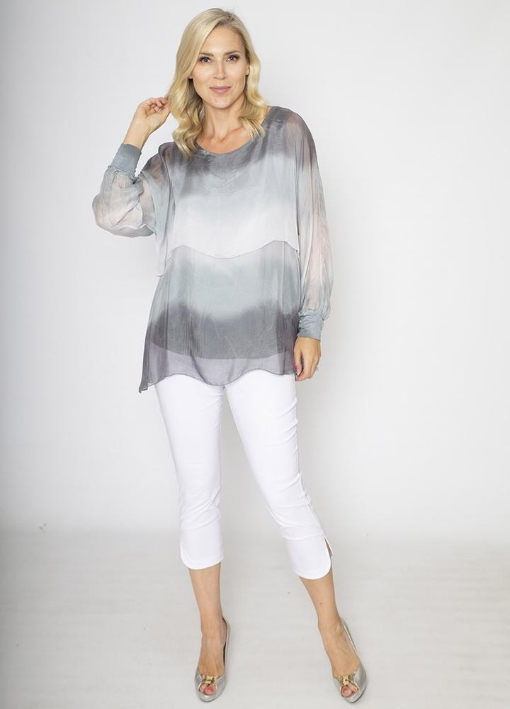 Layered Silk Print Top Grey
