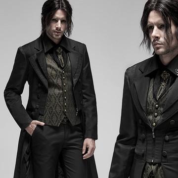 gothic gentlemen victorian coat in black worn with the gunpowder gold vest underneath