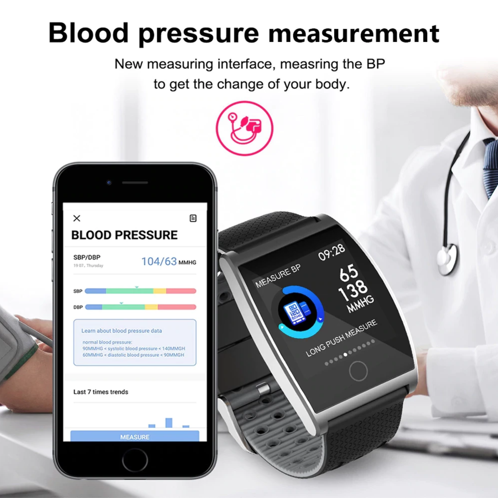 blood pressure pedometer smartwatch
