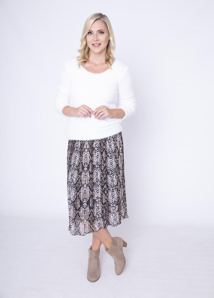 Snake Print Pleat Skirt