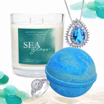 sea glass monthly club candle and bath bomb