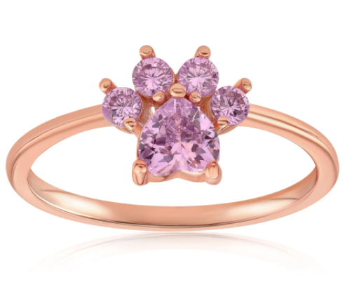 Rose gold vermeil ring with a heart-shaped center stone and four accent stones that form an animal paw
