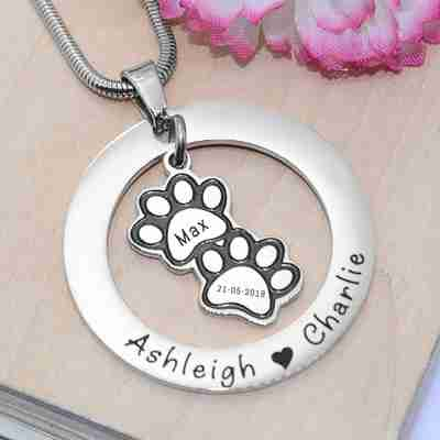 Paw Print Washer Necklace