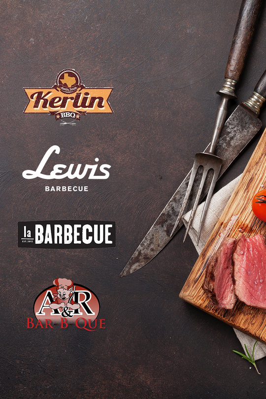 logos of bbq restaurants in america, with a photo of BBQ in the background