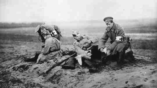Russian medics giving assistance to wounded German soldiers World War 1