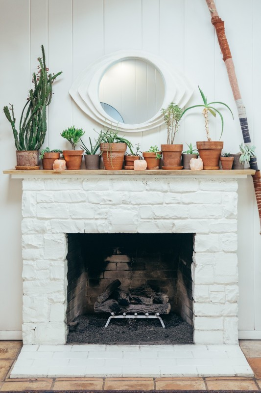 white brick fireplace with plants on top