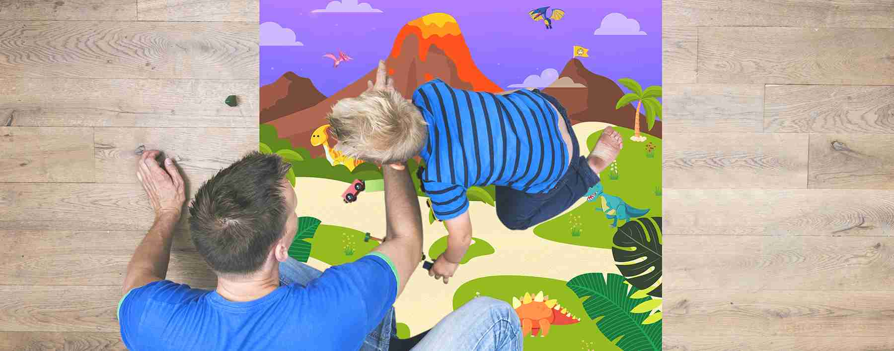 Volcano Island Playmat With Parent And Child Playing