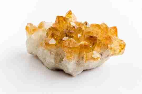 A piece of unpolished lemon quartz