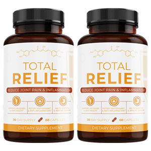 two bottles of the Total Relief supplement