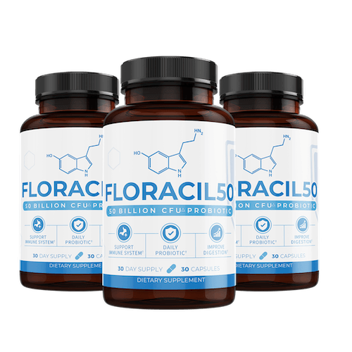 three bottles of the Floracil supplement