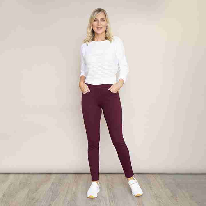 Stretch Waist Stud Pocket Trouser(Wine)