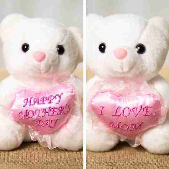 Two white bears with matching pink hearts embroidered with the words