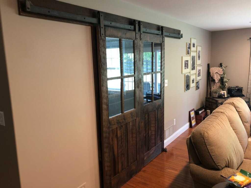 glass paned dark barn door