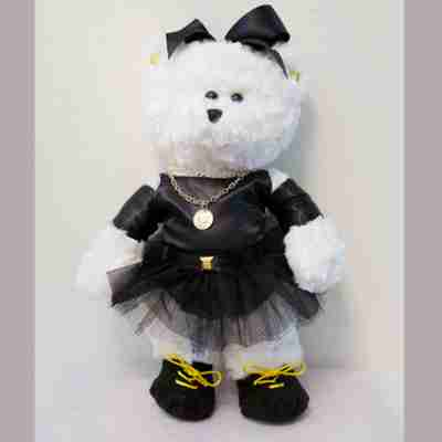 White bear with a black dress.
