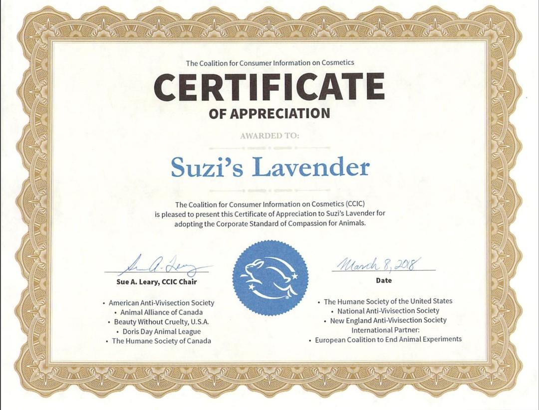 Leaping Bunny Certification - Suzi's Lavender