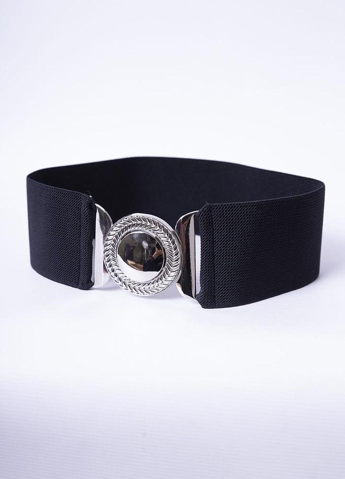 Elastic Waist Disc Belt in Black