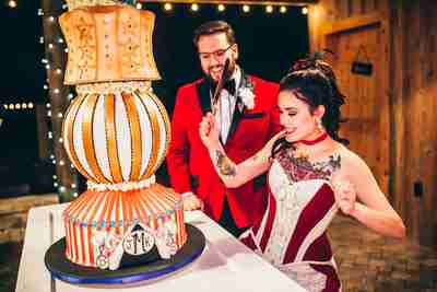 Julia & Kurtis' giant wedding cake designed like a crazy circus tent by Julia's uncle