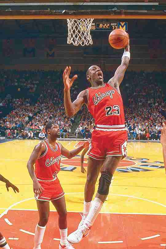 Michael Jordan wearing the Nike Air Ship in 1984-1985.