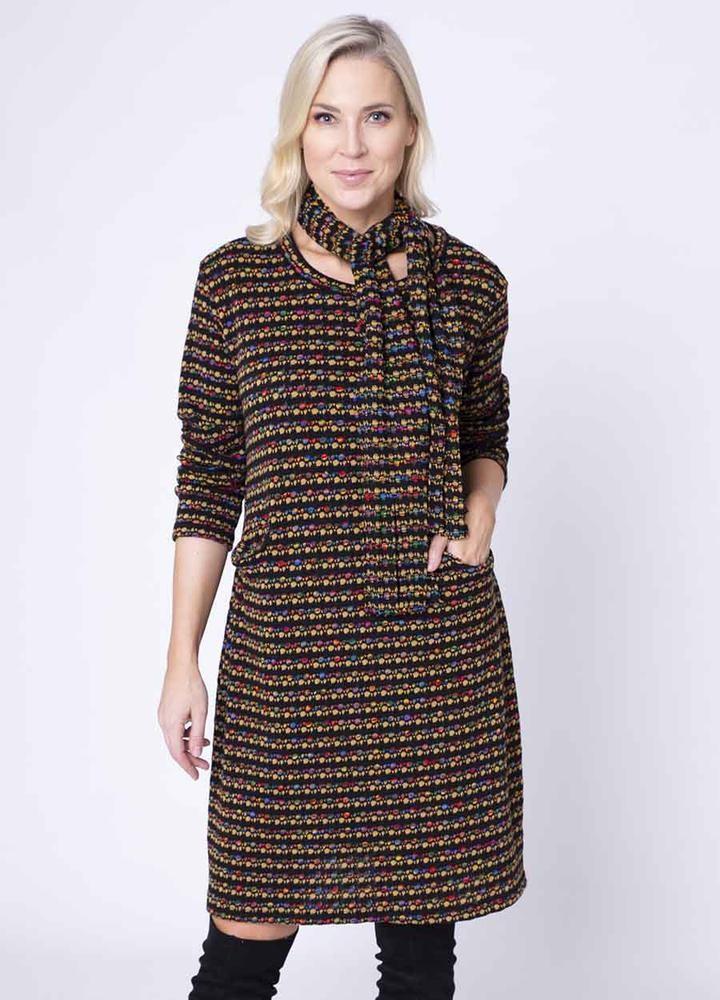 Fine Knit Pocket Dress & Scarf in Mustard
